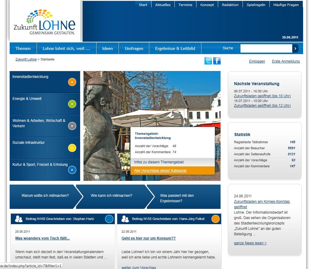Bürgerbeteiligung in fünf Themengebieten: So sieht die Plattform von Zukunft Lohne aus.