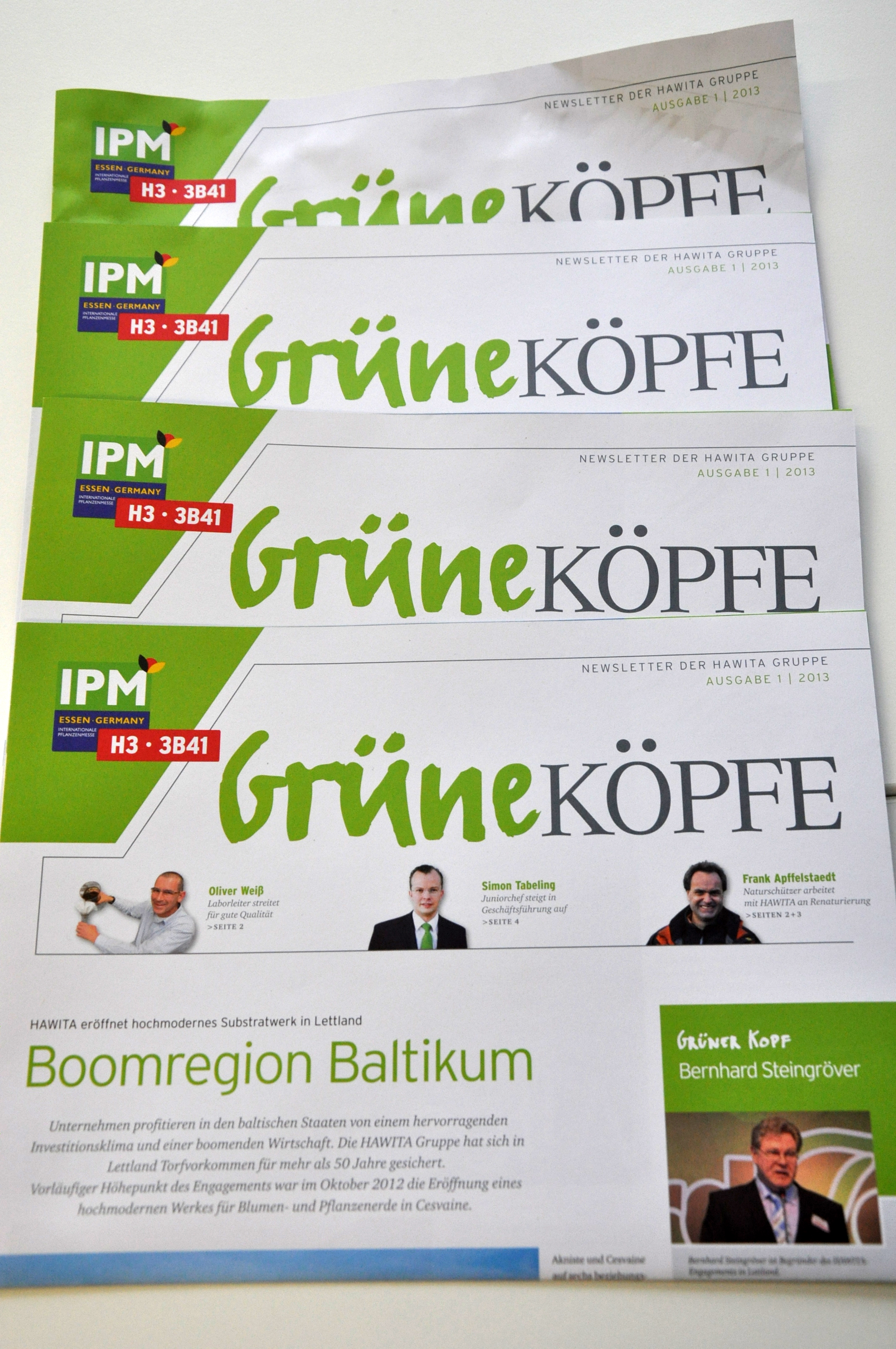 Die Grünen Köpfe sind das Kundenmagazin der HAWITA Gruppe - entwickelt von Freiwald Kommunikation. Foto: Frewald Kommunikation